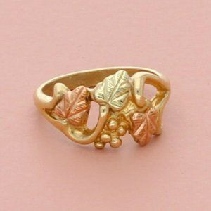 black hills 10k yellow gold leaves tiny baby ring